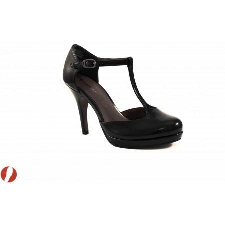 Дамски обувки на висок ток черен лак Tamaris
