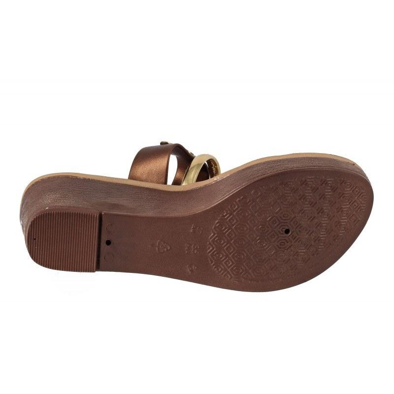 Дамски чехли на платформа Grendha lкафяви