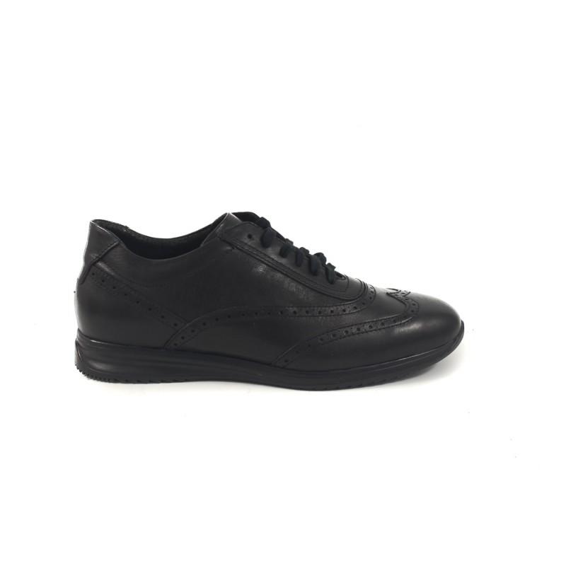 Мъжки кожени обувки с връзки черни бродерия 7564001