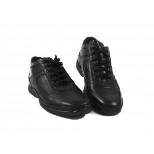 Мъжки кожени боти с връзки черни 7918001