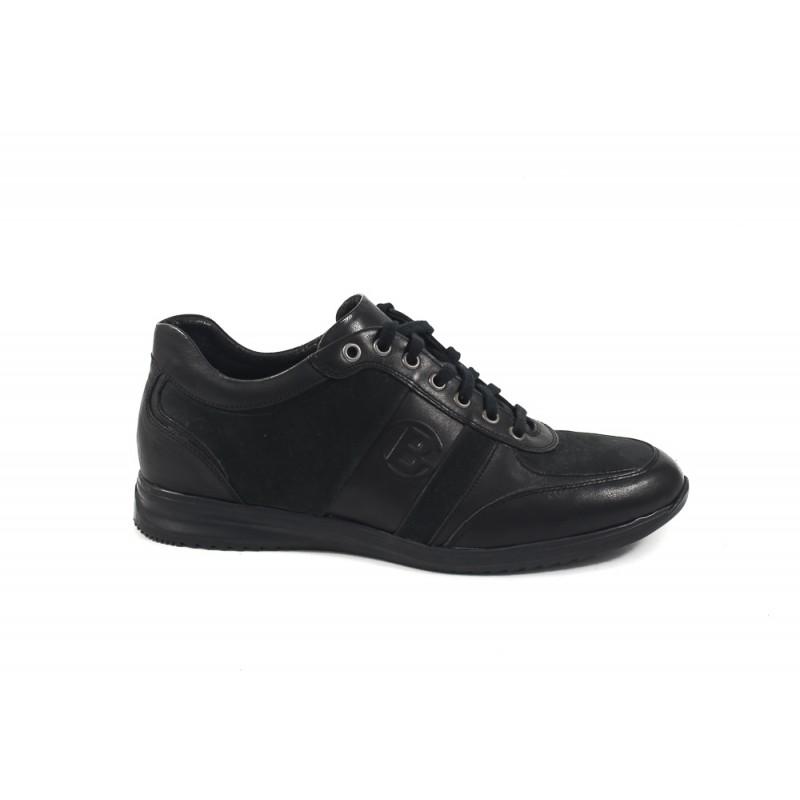 Мъжки кожени обувки с връзки черни 8315001