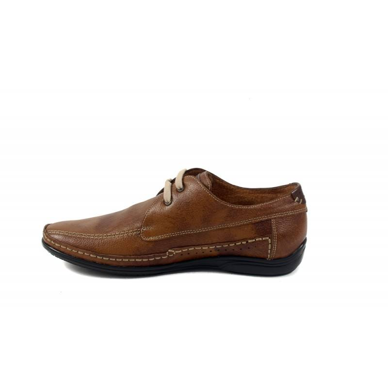 Мъжки пролетни обувки от естествена кожа с връзки кафяви 8513324