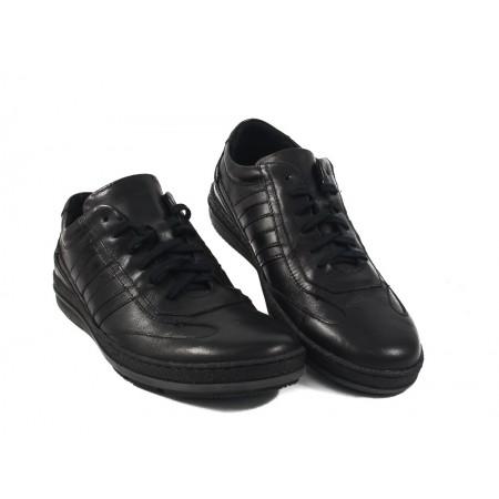 Мъжки кожени обувки с връзки черни 8609001