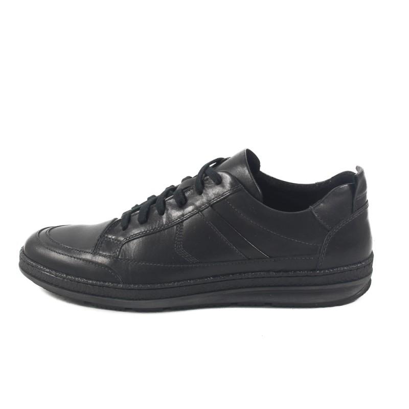 Мъжки кожени обувки с връзки черни 8614001