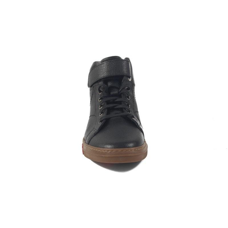 Мъжки черни кецове от естествена кожа с връзки 8885001