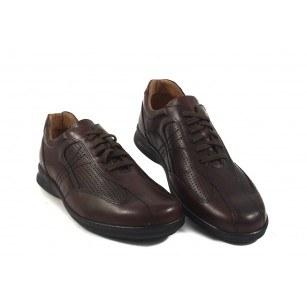 Мъжки кожени обувки с връзки кафяви 8952324