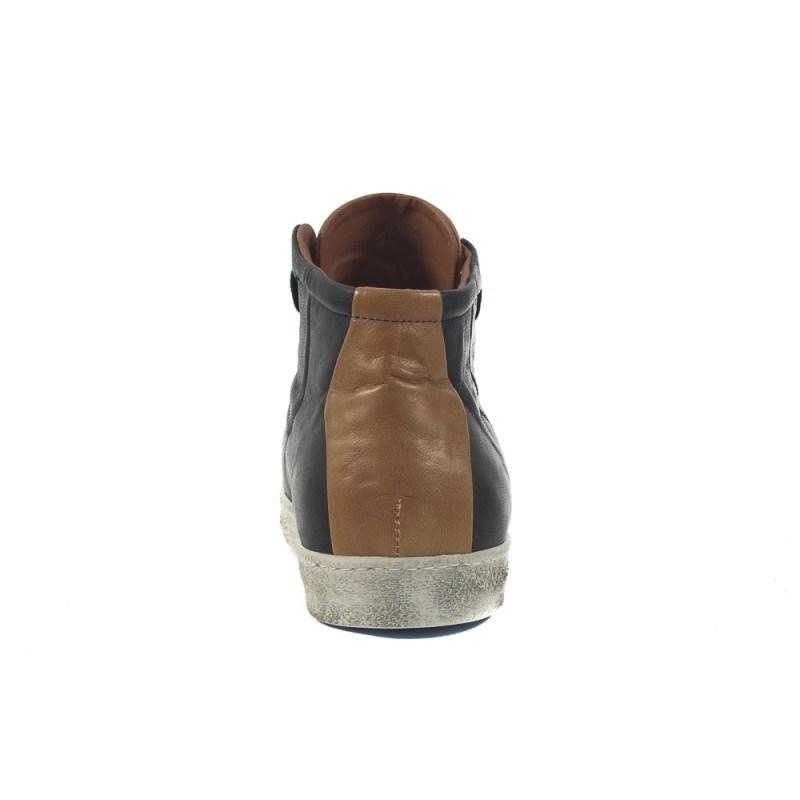 Мъжки кожени кецове с връзки черни 9196001