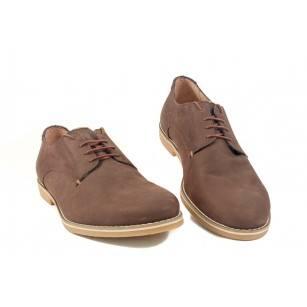 Мъжки кожени обувки с връзки кафяви 9220324