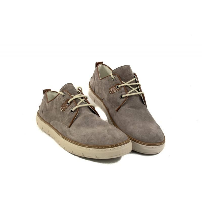 Мъжки спортни обувки с връзки велур сиви 9228400