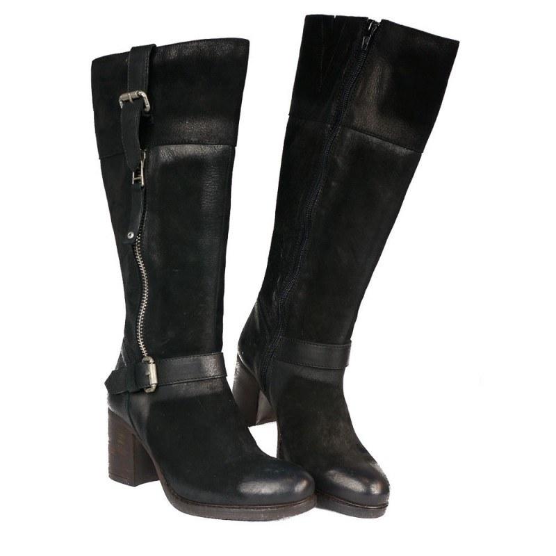 Дамски кожени ботуши на ток черни 15150