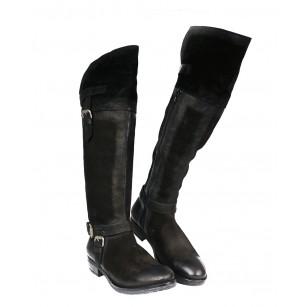 Дамски кожени ботуши чизми равни черни 1519