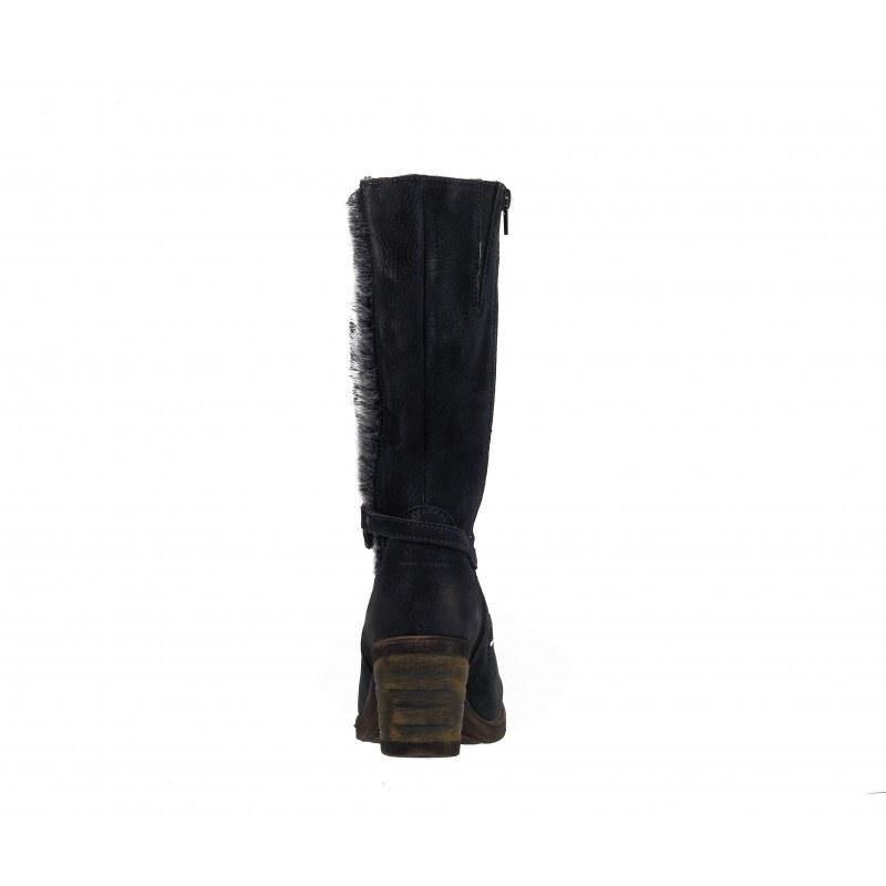 Дамски кожени ботуши на среден ток черни