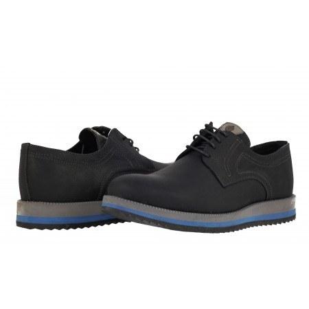Мъжки кожени обувки с връзки черни 831500014