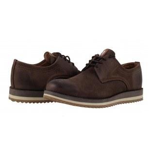 Мъжки кожени обувки с връзки кафяви