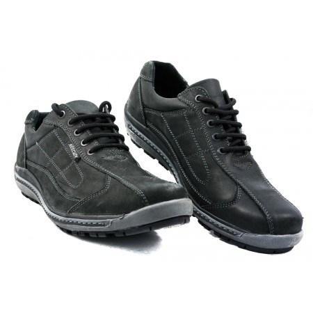 Мъжки обувки с връзки от естествена кожа черни 83180001