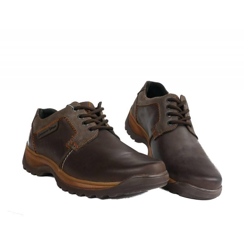 Мъжки кожени обувки с връзки кафяви 83325324