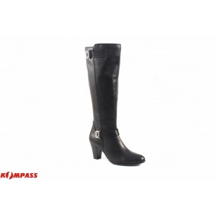 Дамски кожени ботуши на среден ток Caprice черни