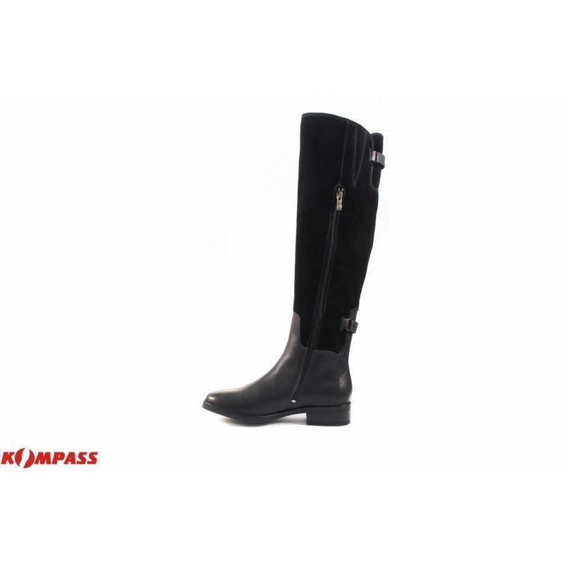 Дамски кожени чизми на нисък ток Caprice черни 25510001