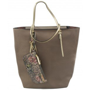 Голяма дамска чанта Sisley бежова 52212002