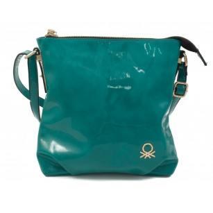 Дамска малка лачена чанта през рамо Benetton тюркоаз 73860005