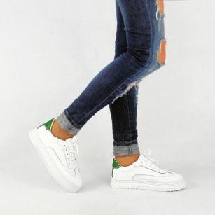 Дамски спортни обувки от естествена кожа BE ME бели/зелени