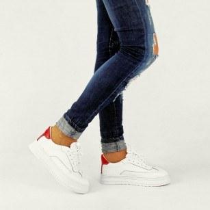 Дамски спортни обувки от естествена кожа BE ME бели/червени
