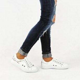 Дамски спортни обувки от естествена кожа BE ME бели