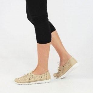 Дамски анатомични обувки с перфорация Solfit бежови