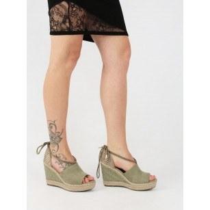 Дамски сандали на платформа Sprox зелени