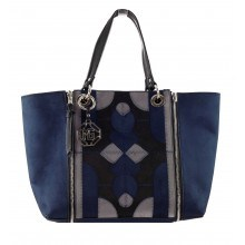 Дамска голяма чанта с организатор Marina Galanti двулицева синя
