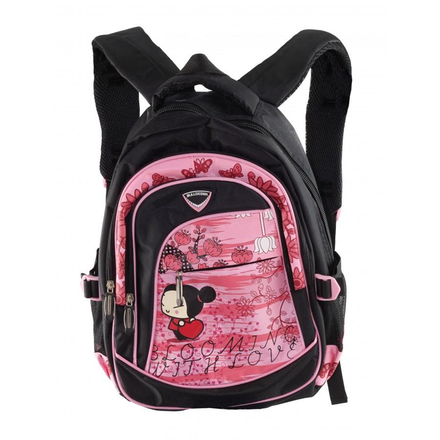 Детска средна раница Bulldozer черно/розова
